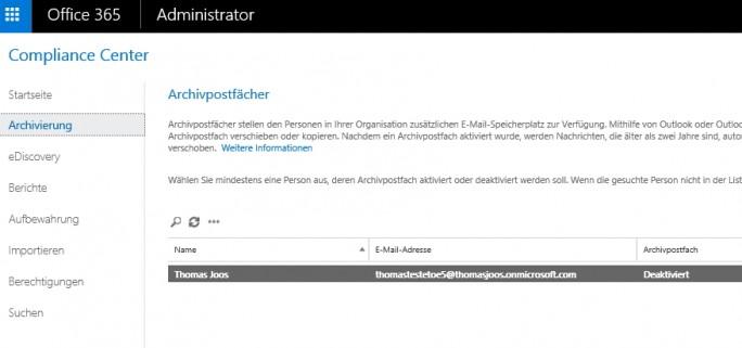 Office 365 bietet auch eine Rechteverwaltung, eine Archivierung und andere Funktionen für die Compliance (Screenshot: Thomas Joos).