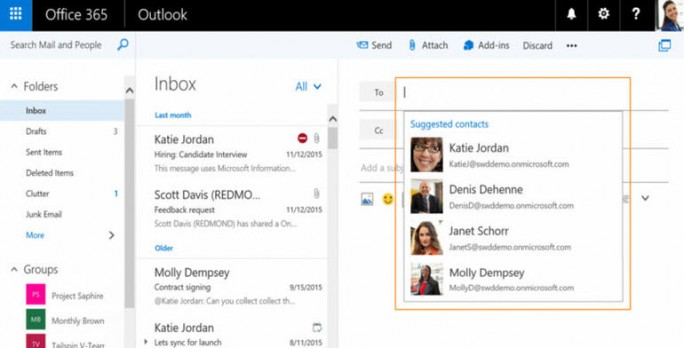 Outlook.com schlägt künftig Kontakte vor (Screenshot: Microsoft).