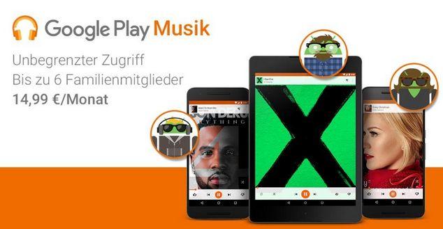 Familienabonnement für Play Music (Bild: Google)