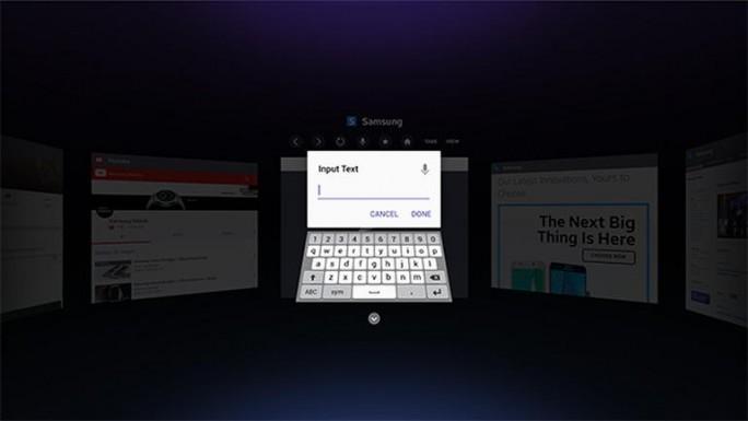 Texteingabe im Browser für Gear VR (Bild: Samsung)