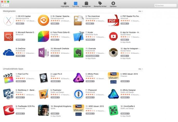 Mac App Store (Screenshot: ZDNet.de)