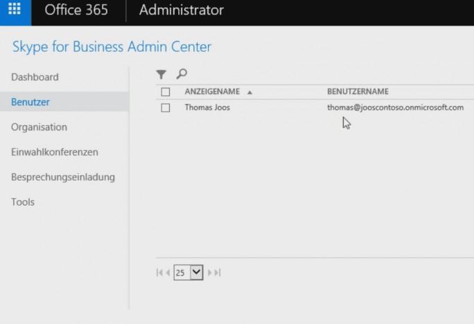 Im Skype for Business Admin Center verwalten Administratoren die Skype-Benutzer der Office 365/Hybridumgebung (Screenshot: Thomas Joos).