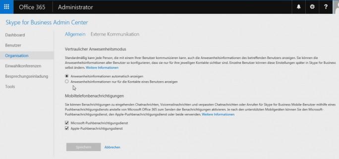 Im Skype for Business Admin Center lassen sich auch externe Kontakte anbinden sowie weitere Systemeinstellungen vornehmen, um Skype for Business Online mit externen Konferenzsystemen zu verbinden (Screenshot: Thomas Joos).
