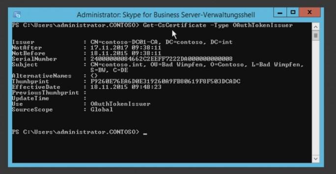 In der Skype for Business Server-Verwaltungsshell lassen sich Konfigurationen der Skype-Zertifikate anzeigen (Screenshot: Thomas Joos).