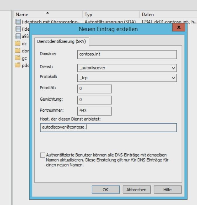 Mit einem neuen SRV-Record lässt sich die AutoDiscovery-Funktion in Exchange und Skype sicherstellen (Screenshot: Thomas Joos).