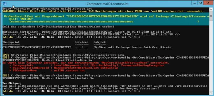 In der Exchange Management Shell kann das Zertifikat für die Verbindung zwischen Skype und Exchange konfiguriert werden (Screenshot: Thomas Joos)