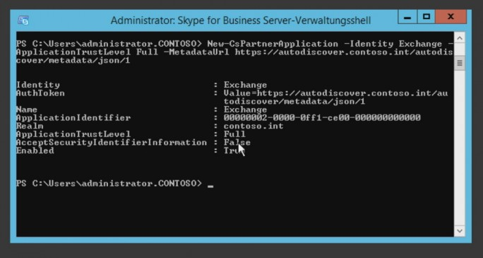 In der Skype for Business-Verwaltungsshell wird Exchange in Skype als Partneranwendung verwendet (Screenshot: Thomas Joos).