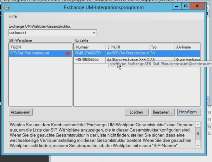 Mit dem Exchange UM-Integrationsprogramm werden die Einstellungen aus einem Exchange-Wählplan in Skype eingelesen (Screenshot: Thomas Joos).