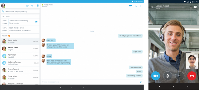 Skype for Business unter Android (Screenshot: Microsoft)