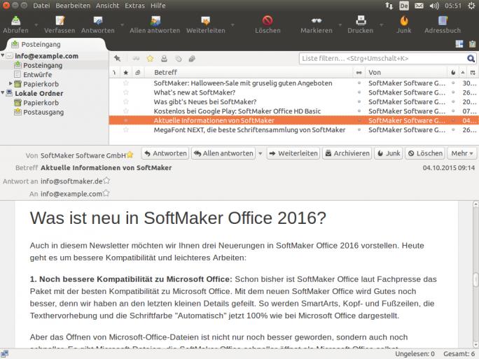Thunderbird ersetzt den bisher in SoftMaker Office enthaltenen eM Client (Bild: SoftMaker).