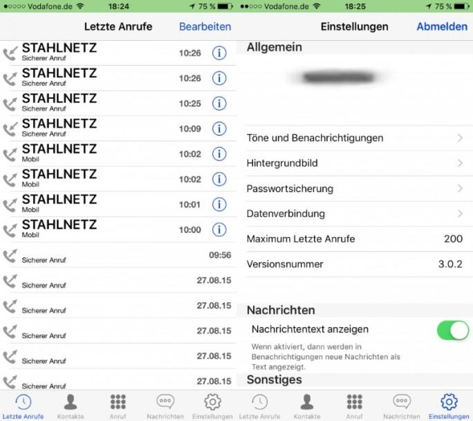 Die Stahlnetz-App nutzt zur Sprachkryptografie eine Ende-zu-Ende-Verschlüsselung mit 256-Bit-AES (Bild: Uteelcom).