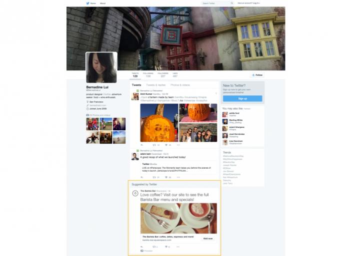 Gesponserter Tweet auf einer Profilseite (Bild: Twitter)