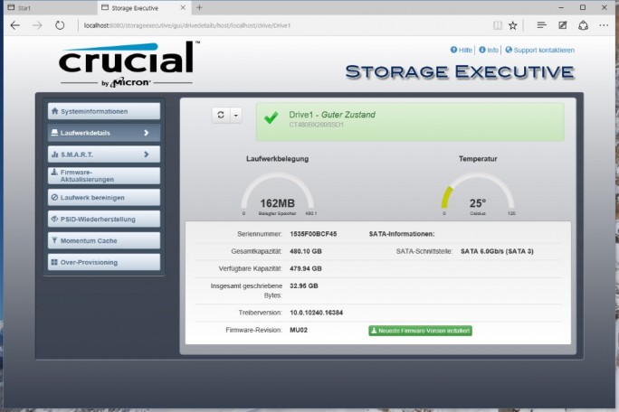 Crucial-Storage_Executive_BX200-status (Screenshot: ZDNet.de)