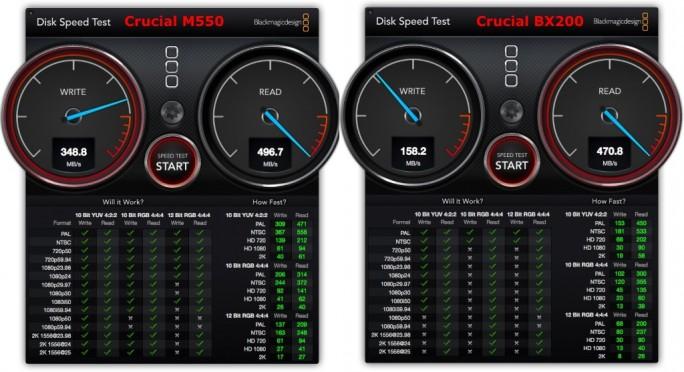 Crucial BX200 im Vergleich zur Crucial M550 unter OS X (Screenshot ZDNet.de)