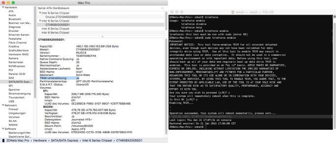Crucial BX200: Aktivierung von TRIM unter OS X (Screenshot: ZDNet.de)