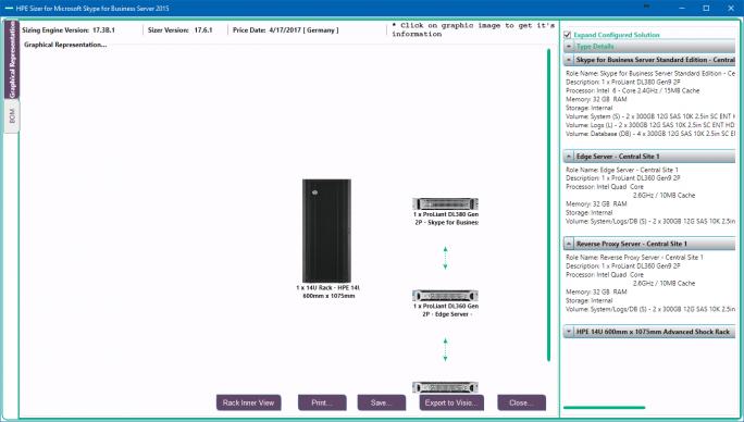 Mit dem HPE Sizer for Skype for Business können Unternehmen die Server exakt planen, um die UCC-Lösungoptimal zu betreiben (Screenshot: Thomas Joos).