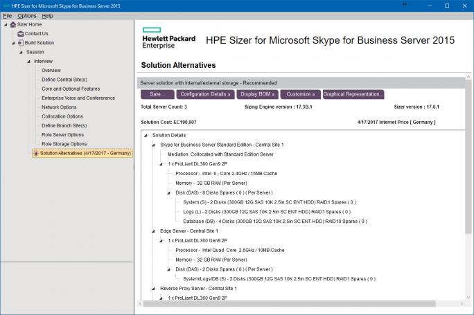 Das HPE-Tool gibt genaue Hinweise, wie die Hardware für das neue UCC-System konfiguriert sein muss, und welche Server eingesetzt werden sollten (Screenshot: Thomas Joos).