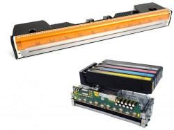 Für den Einsatz in schnellen Druckern vorgesehene, seitenbreite Druckköpfe von Memjet (oben) und HP (Bild: ITespresso mit Material von Memjet und HP).