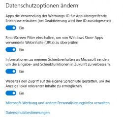 Standardmäßig gibt es in Windows 10 bereits einige Einstellungen die Anwender auch ohne Zusatztools verwenden können, um den Datenschutz zu verbessern (Screenshot: Thomas Joos).