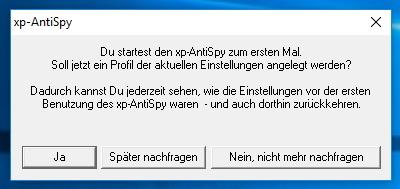 xp-AntiSpy kann beim Start die aktuellen Einstellungen in Windows 10 sichern (Screenshot: Thomas Joos).