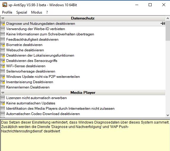 Nach dem Start von xp-AntiSpy können Anwender die Datenschutz-Funktionen im Betriebssystem anpassen (Screenshot: Thomas Joos).