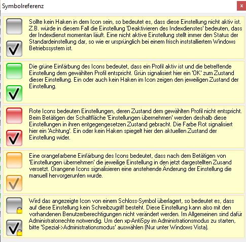 xp-AntiSpy zeigt auf Basis von verschiedenen Farben an, ob die jeweilige Einstellung bereits umgesetzt ist (Screenshot: Thomas Joos).