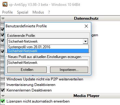 Mit xp-AntiSpy lassen sich auch eigene Profile erstellen, exportieren und auf anderen Rechnern wieder importieren (Screenshot: Thomas Joos).