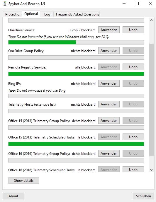 Mit Anti-Beacon können Anwender auch Office-Programme besser schützen (Screenshot: Thomas Joos).