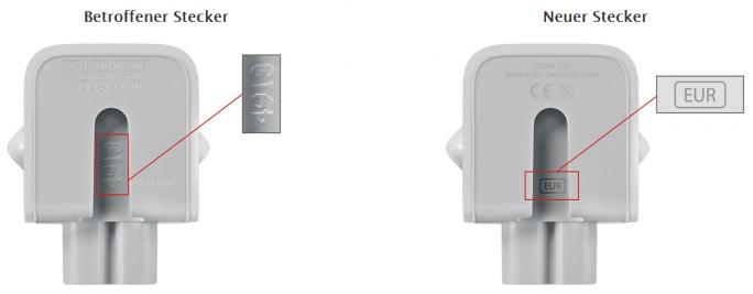 Anhand der Kennzeichnung an der Innenseite der Verbindungsstelle zum Netzteil lassen sich die fehlerhaften Stecker identifizieren (Bild: Apple).
