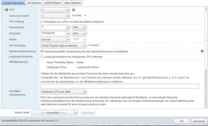 Administratoren können in den Einstellungen von VMs Konfigurationen vornehmen, über welche die VM auf Funktionen der physischen CPU zugreifen kann (Screenshot: Thomas Joos).