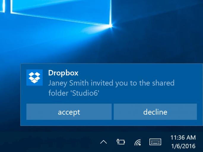 Die Windows-10-Universal-App von Dropbox zeigt nun interaktive Benachrichtigungen an (Bild: Microsoft).