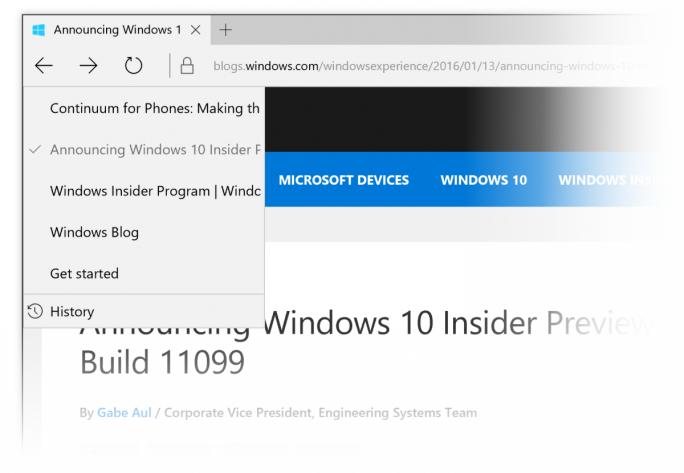 Bei einem Rechtsklick auf den Vor- oder Zurück-Button blendet Edge nun eine Liste der zuletzt besuchten Websites ein (Bild: Microsoft).