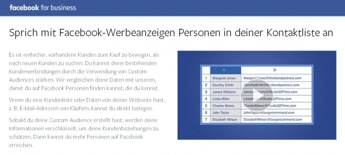 "Nach dem Urteil des Bundesgerichtshofs riskieren Firmen bei Nutzung der Facebook-Funktion ""Custom Audience"" nun hohe Bussgelder (Screenshot: ITespresso.de)."