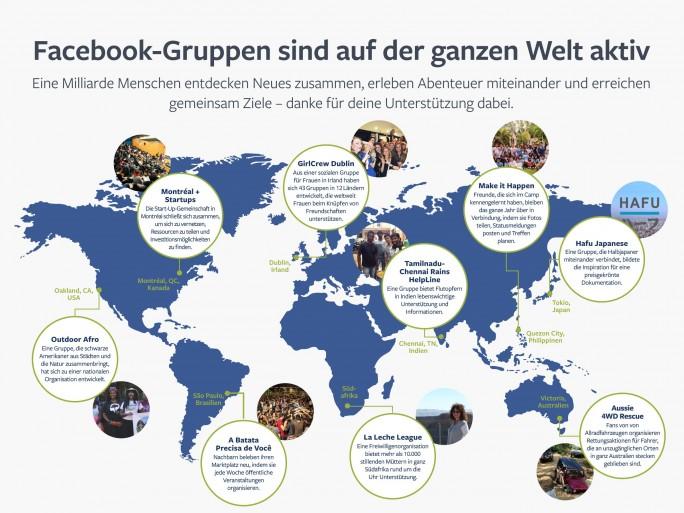 Beispiele der weltweiten Gruppen-Nutzung (Bild: Facebook)