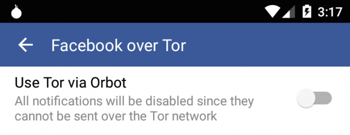 Tor-Option in facebook für Android (Bild: Facebook)