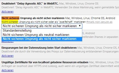 Chrome-Flagge für nicht sichere Seiten (Screenshot: ZDNet.de)