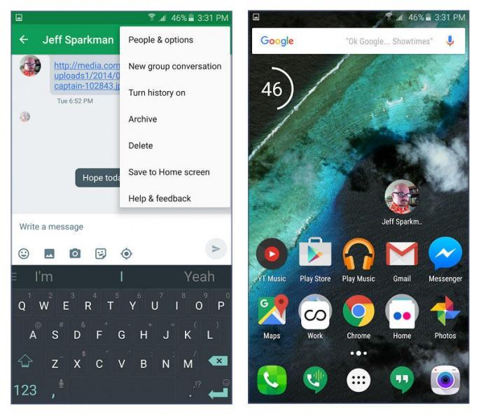Hangouts 7.0 erlaubt das Anlegen von Verknüpfungen auf dem Homescreen (Screenshots: Nicole Cozma/CNET).
