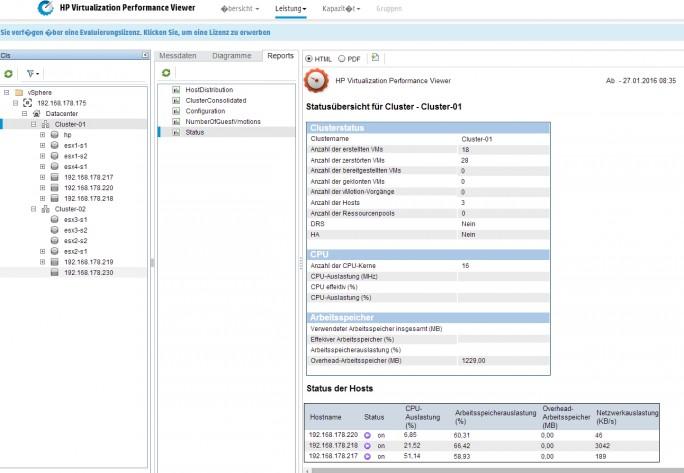 Um den Ausfall einzelner Serveranwendungen zu verhindern, können Administratoren die Virtualisierungs-Umgebung zentral überwachen (Screenshot: Thomas Joos).