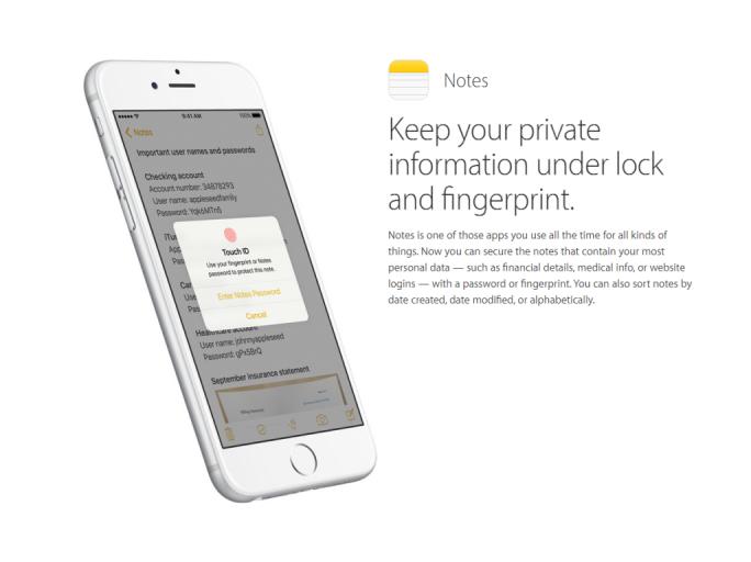 iOS 9.3 erlaubt es, Notizen mit einem Passwort oder einem Fingerabdruck zu schützen (Bild: Apple).