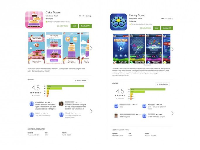 Außer Cake Tower und Honey Comb hat Google die ebenfalls mit Malware verseuchten Apps Cake Blast, Jump Planet, Crazy Block, Crazy Jelly, Tiny Puzzle, Ninja Hook, Piggy Jump, Just Fire, Eat Bubble, Hit Planet und Drag Box aus dem Play Store entfernt (Screenshot: Lookout).