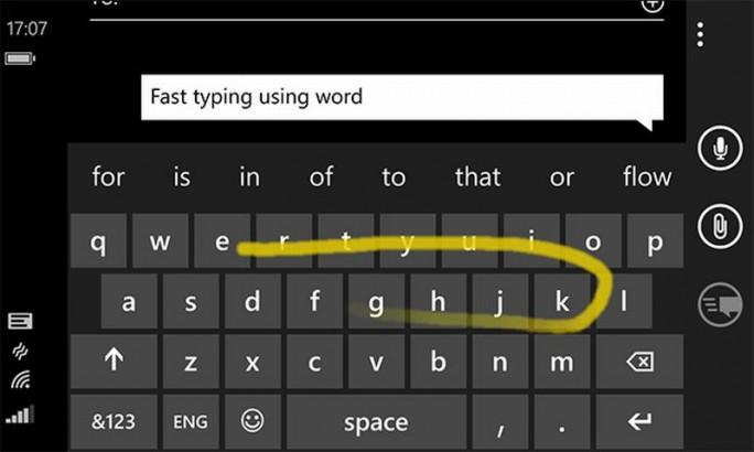 Das Word Flow Keyboard erlaubt eine Swype-ähnliche Texteingabe mit Wischbewegungen  (Bild: Microsoft).