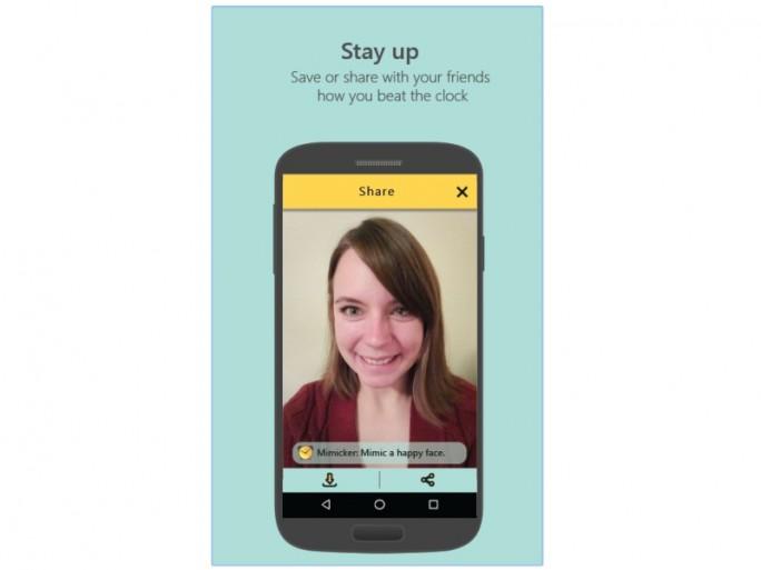 Microsofts Mimicker Alarm für Android erkennt glückliche Gesichter (Bild: Microsoft).