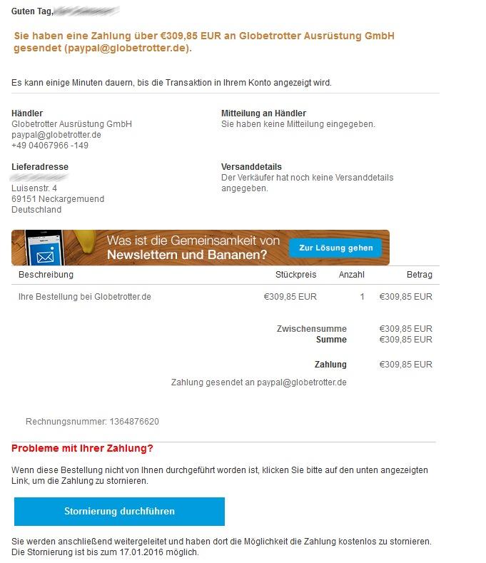 Eine angeblich von Paypal stammende Nachricht soll Nutzer dazu verleiten, ihre Kontodaten preiszugeben. Die angegebene Adresse ist in diesem Fall - anders als die Anrede - nicht korrekt (Screenshot: silicon.de).