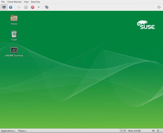 Suse Linux Enterprise Server 12 Service Pack 1 enthält auch einen Viewer für die grafische Konsole eines VM-Gastes (Bild: Suse).