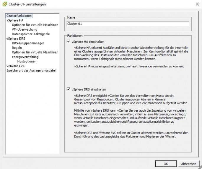 In virtuellen Umgebungen lassen sich virtuelle Server und ganze Rechenzentren mit wenigen Mausklicks hoch verfügbar zur Verfügung stellen (Screenshot: Thomas Joos).