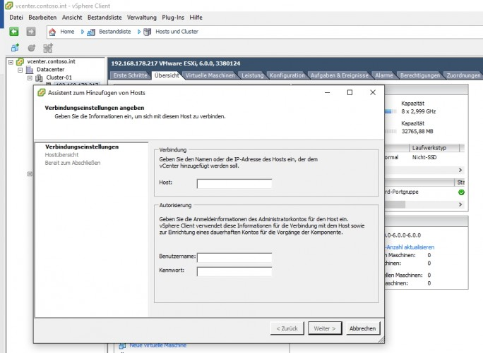 Neue Server-Hardware lässt sich in eine Virtualisierung-Umgebung schnell und einfach integrieren (Screenshot: Thomas Joos).