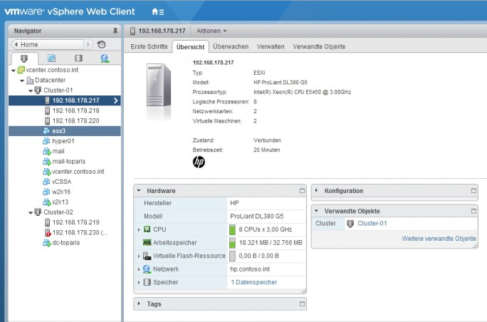 In virtuellen Infrastrukturen, lässt sich die Leistung von Servern schnell zur Verfügung stellen und auf die notwendigen Server-Anwendungen verteilen (Screenshot: Thomas Joos).