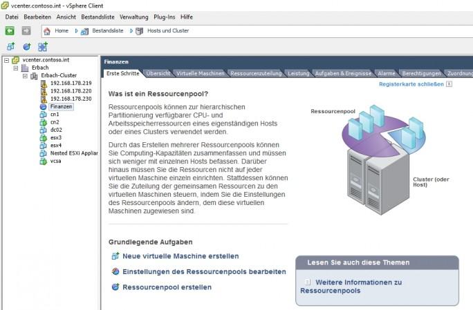 Benötigen vorhandene Server-Anwendungen zusätzliche Ressourcen, lassen sich diese in virtuellen Infrastrukturen recht schnell bereitstellen (Screenshot: Thomas Joos).