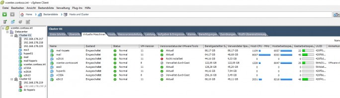 Die Ressourcen der Server-Hardware lassen sich in einer virtuellen Infrastruktur einfach aber effizient verteilen (Screenshot: Thomas Joos).