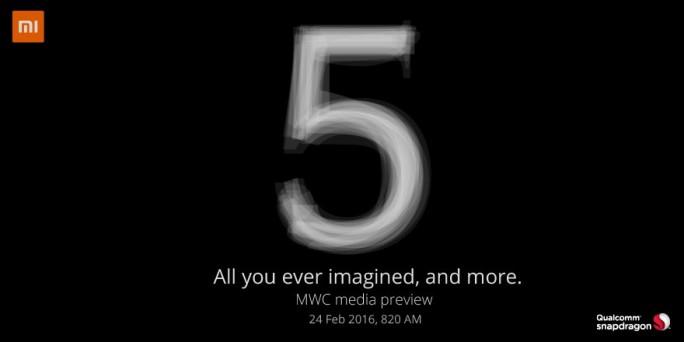Xiaomi wird das Mi5 auf einem Preview-Event auf dem Mobile World Congress vorstellen (Bild: Xiaomi).